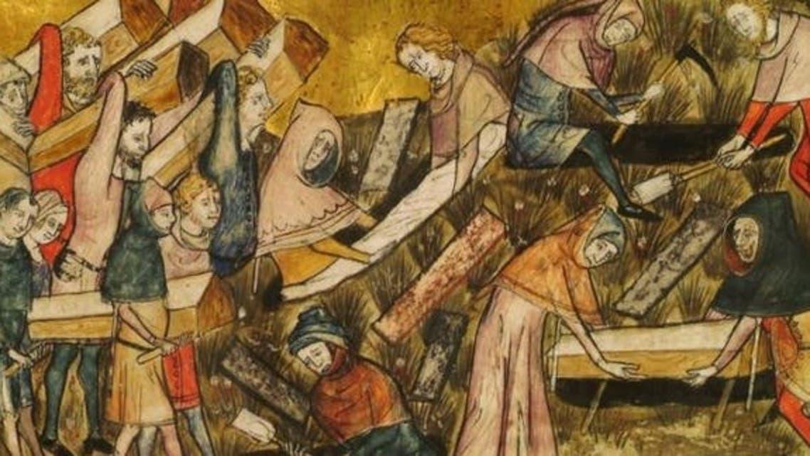 رسم تخيلي لعمليات دفن الموتى خلال الطاعون الأسود