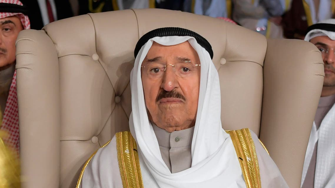 In this March 31, 2019 file photo, Kuwait's ruling emir, Sheikh Sabah Al Ahmad Al Sabah, attends the opening of the 30th Arab Summit, in Tunis, Tunisia. (AP)