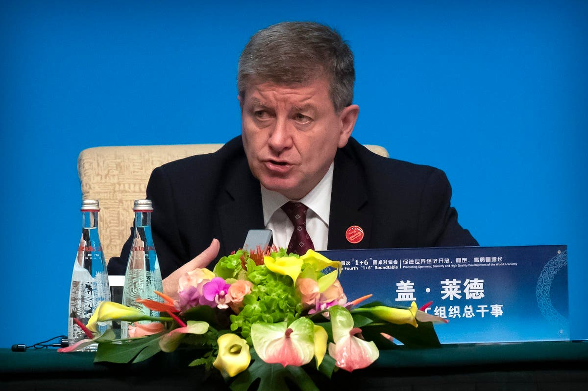 ILO Director-General Guy Ryder speaks during a press conference at the Diaoyutai State Guesthouse in Beijing, Thursday, Nov. 21, 2019. (AP)