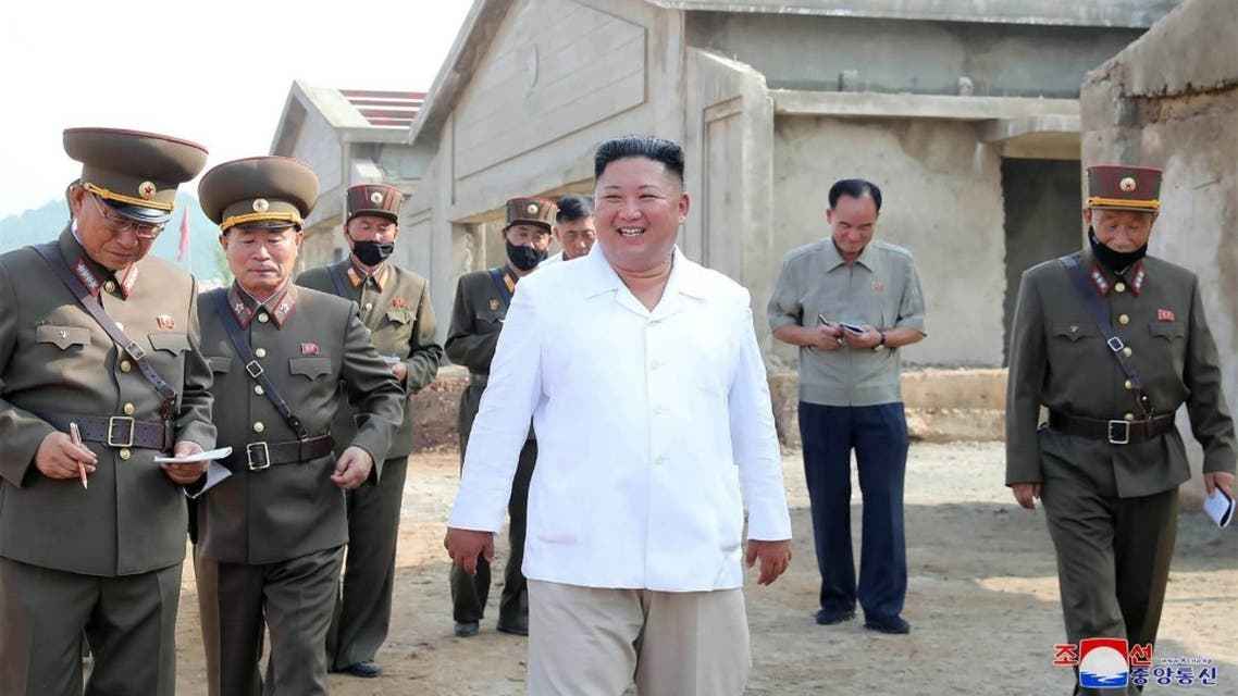 This undated picture released from North Korea's official Korean Central News Agency (KCNA) on July 23, 2020 shows North Korean leader Kim Jong Un (C). (AFP)