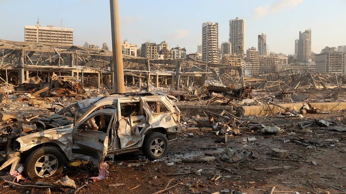A damaged vehicle is seen at the site of an explosion in Beirut, Lebanon August 4, 2020. (Reuters)