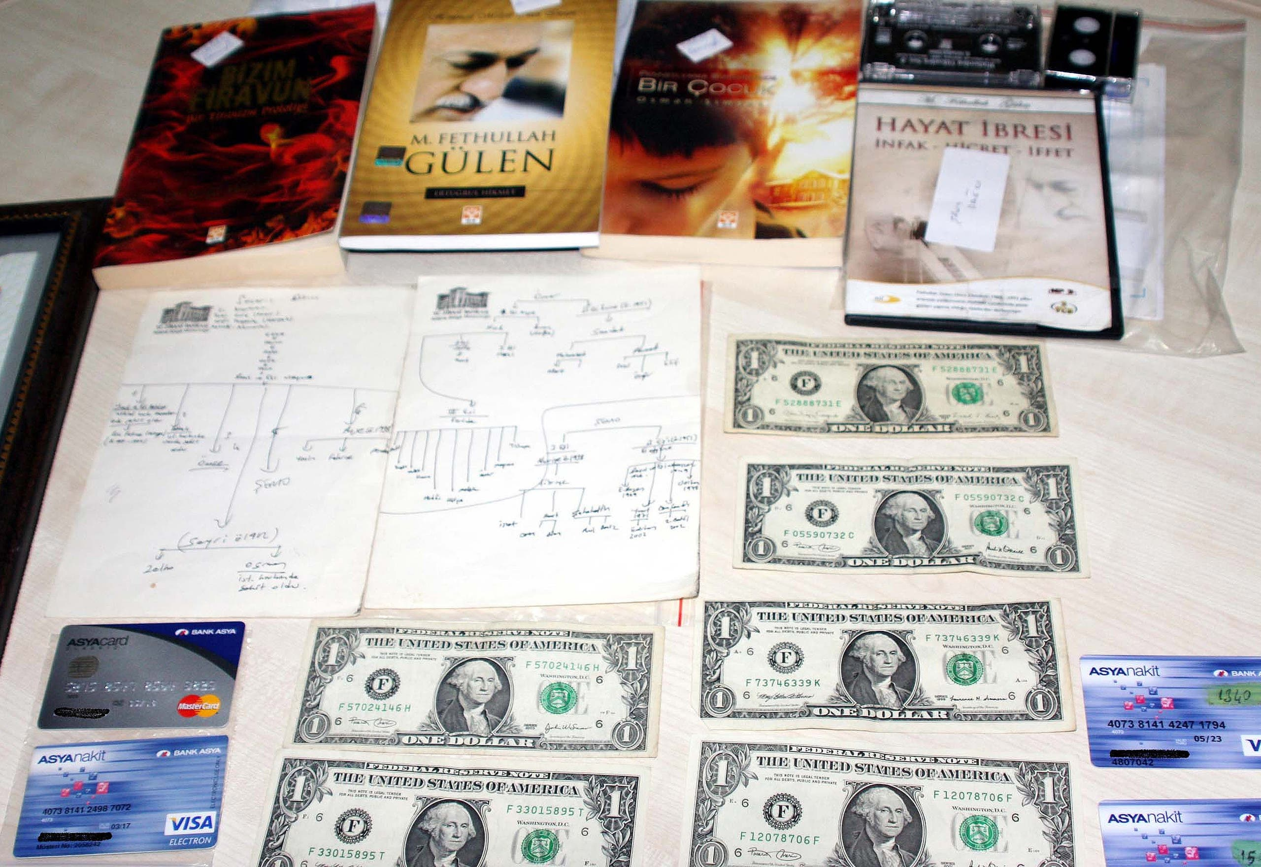 US dollars, Visas cards and books displayed after police raids on the home and the business of one suspected follower of Muslim cleric Fethullah Gulen in Gaziantep, Turkey on Aug 3, 2016. (AP)