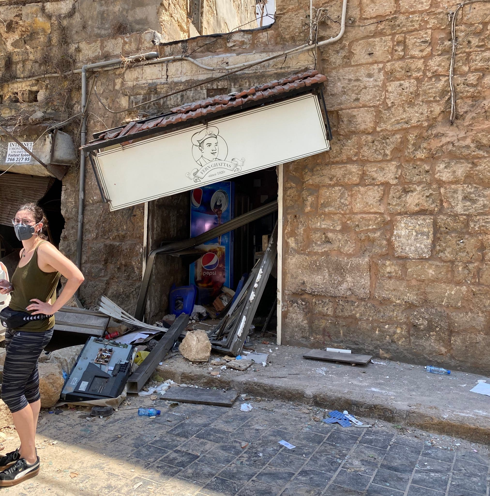 A local bakery, or fern, in Gemmayze, Beirut, after being hit by the blast from Beirut's port. (Twitter, @adammbaron)