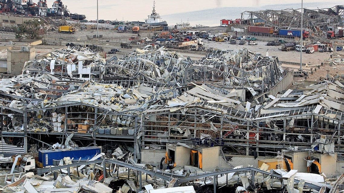 A view shows damages at the site of Tuesday's blast in Beirut's port area, Aug. 5, 2020. (Reuters)