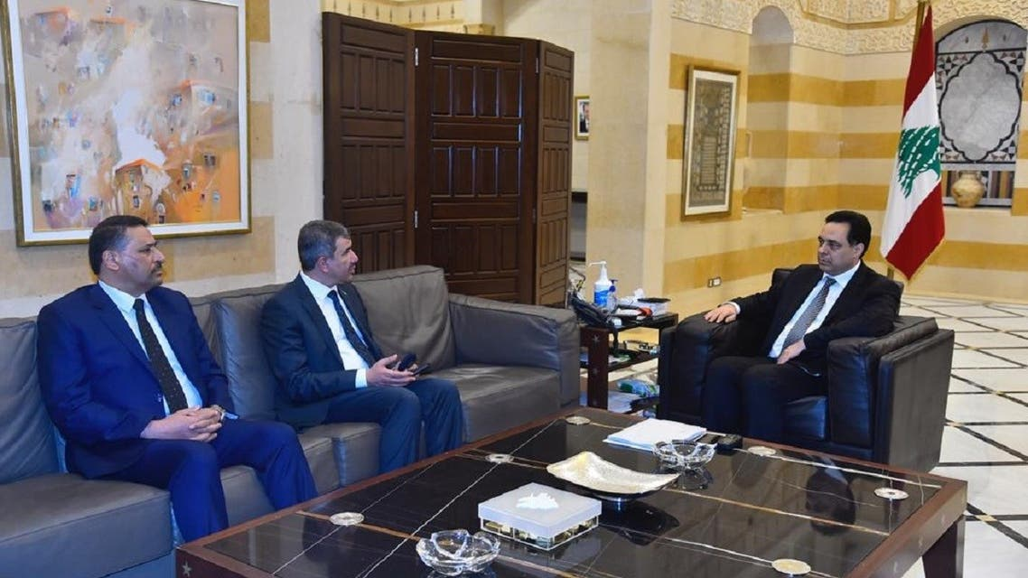 Lebanon's Prime Minister Hassan Diab meets with an Iraqi delegation, Aug. 5, 2020. (Supplied)
