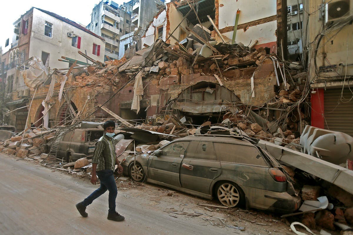 A picture shows the aftermath of a blast that tore through Lebanon's capital on August 5, 2020 in Beirut. (AFP)