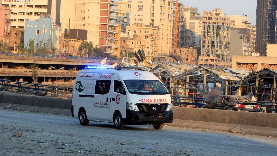 An ambulance drives near the site of Tuesday's blast in Beirut's port area, Lebanon. (Reuters)
