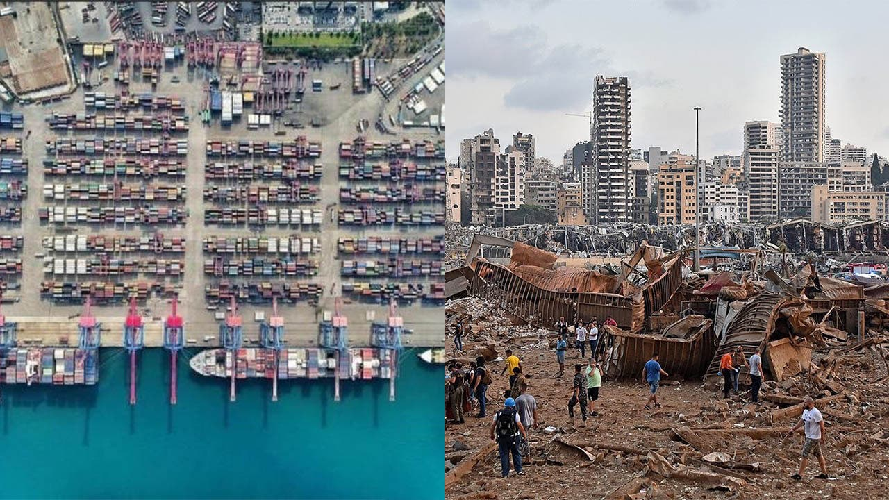 The port of Beirut before and after Tuesday's explosion. (Twitter)