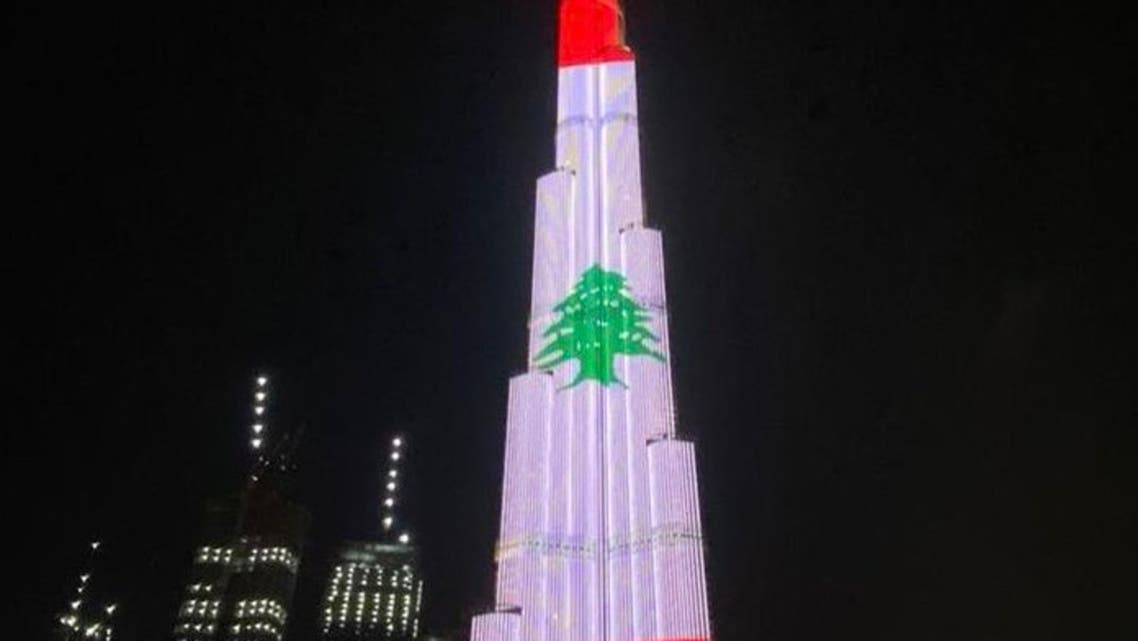 The Burj Khalifa in Dubai lights up with a projection of the Lebanese flag after deadly Beirut blasts struck the port. (Twitter: @BurjKhalifa)