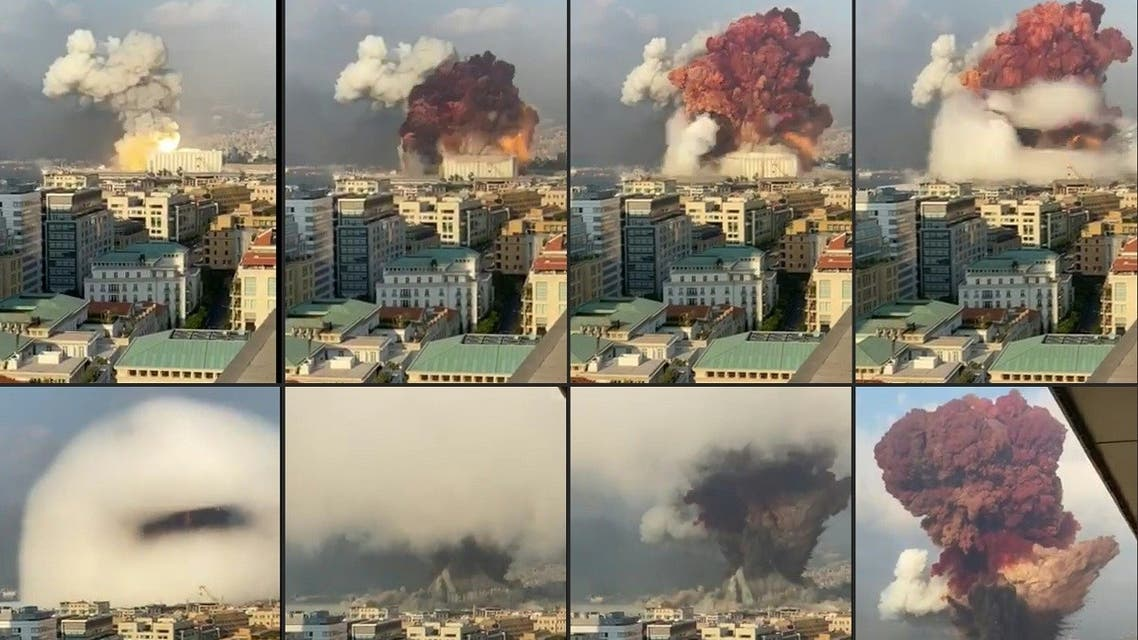 This combination of photos shows a fireball exploding while smoke is billowing at the port of the Lebanese capital on August 4, 2020. (AFP)