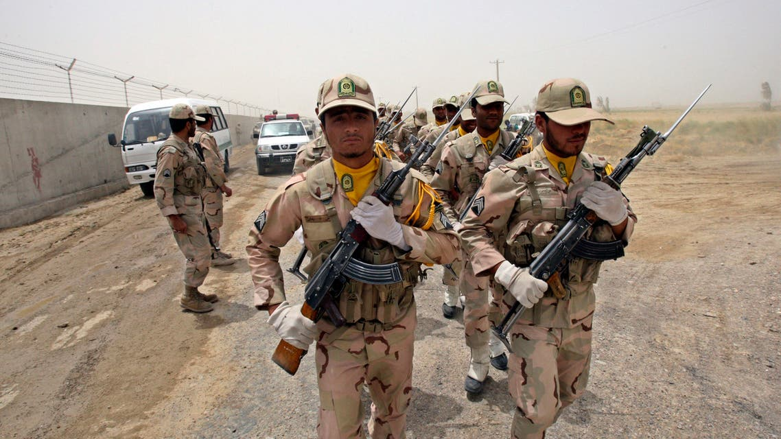 In this Tuesday, July 19, 2011 file photo, a group of Iranian border guards march at the eastern border of Iran shared with Pakistan and Afghanistan near Zabol, Sistan and Baluchestan Province, Iran. (AP)