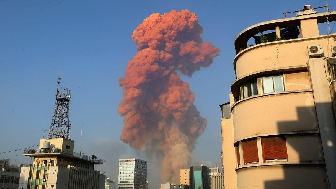 A cloud of orange smoke is seen rising above Beirut, Aug. 4, 2020. (AFP)