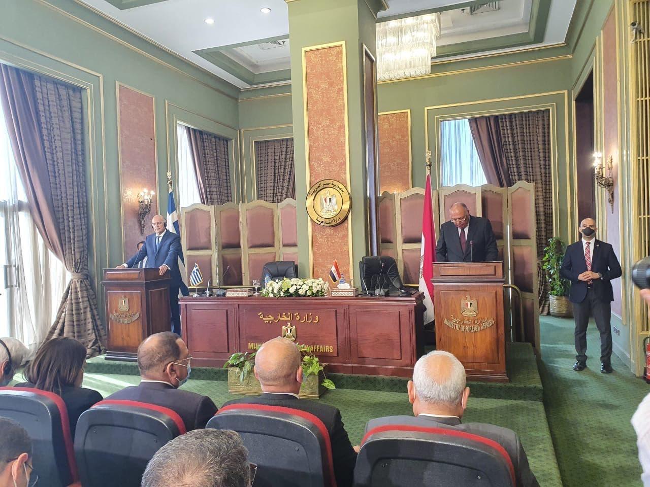 من المؤتمر الصحفي لوزيري خارجية مصر واليونان