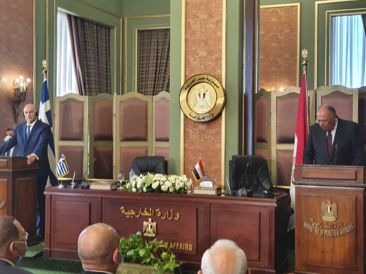 من الموتمر الصحفي لوزيري خارجية مصر واليونان بعيد توقيع الاتفاق