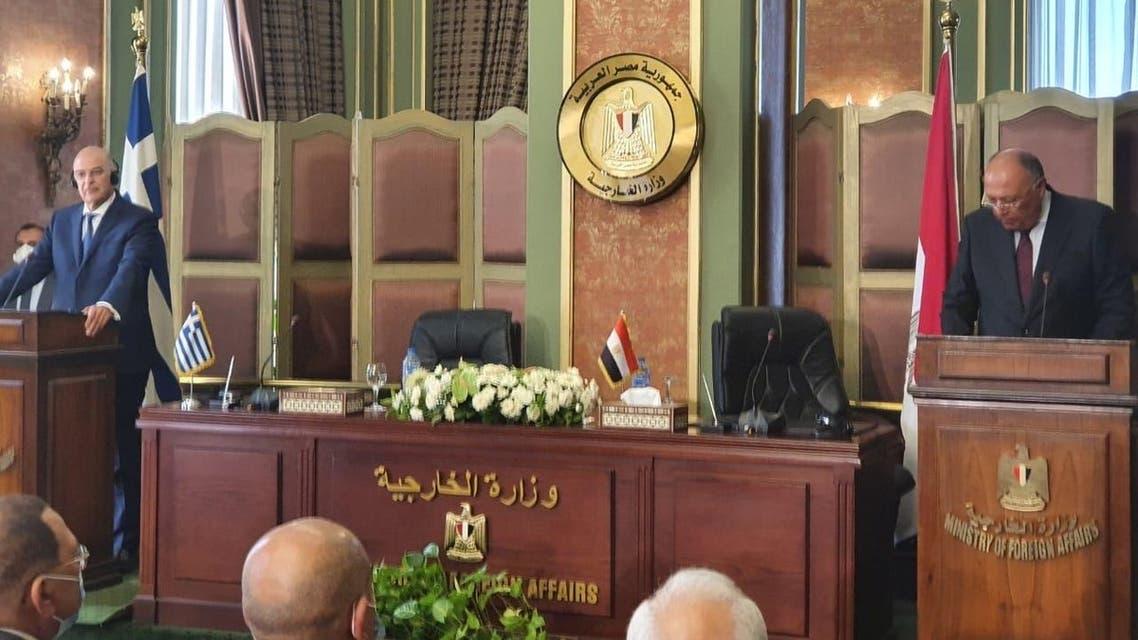 صور من الموتمر الصحفي لوزيري خارجية مصر واليونان