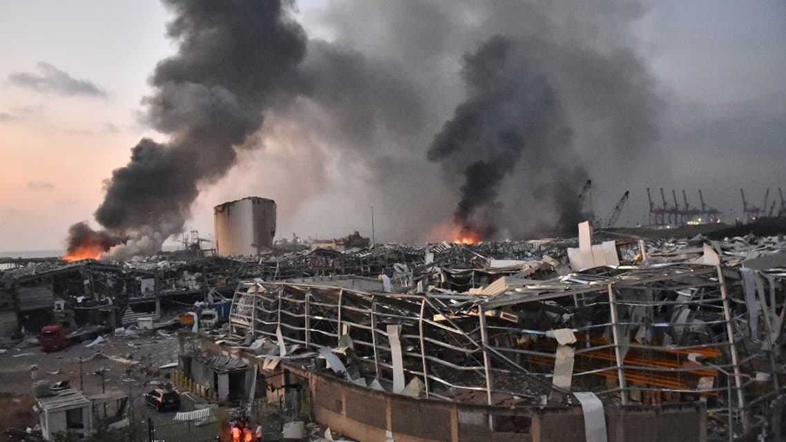 This picture taken on August 4, 2020 shows a general view of the scene of an explosion at the port of Lebanon's capital Beirut.  (AFP)