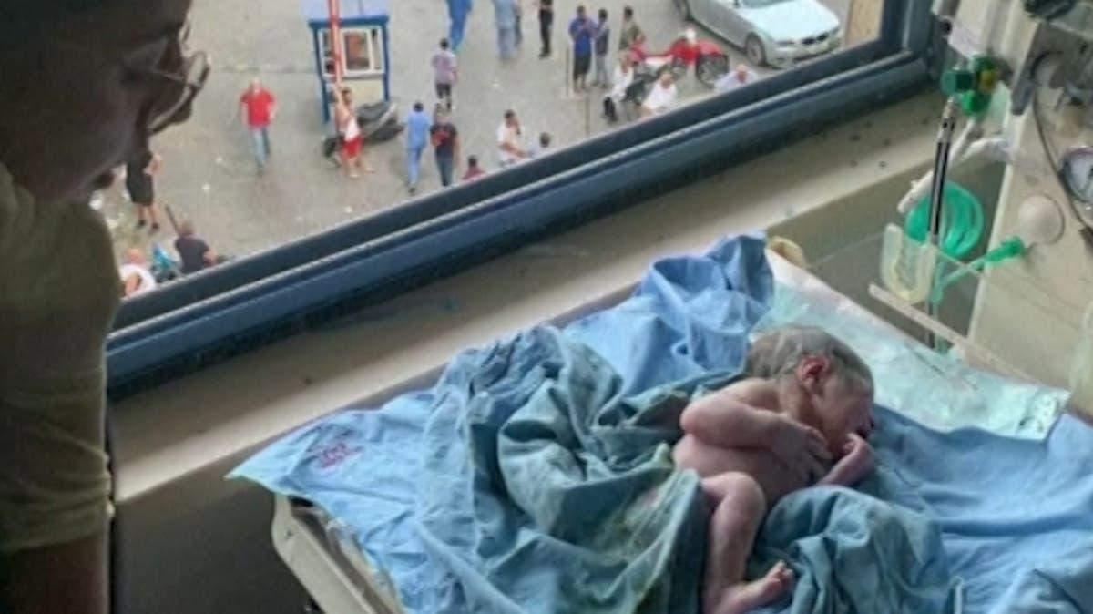 Baby born as Beirut blast rips through hospital thumbnail