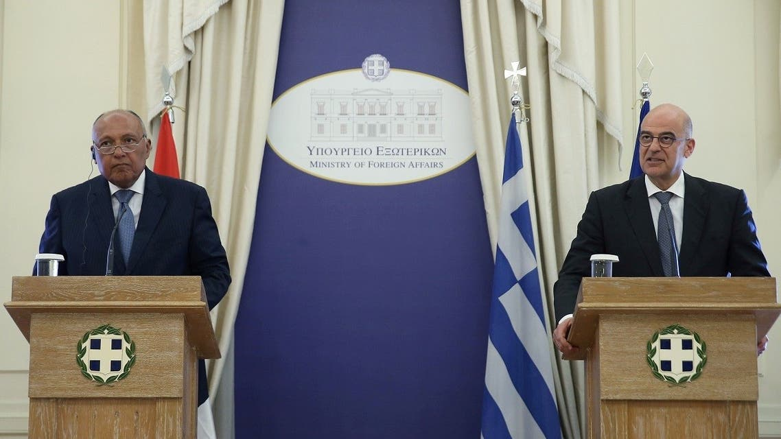 Greek Foreign Minister Nikos Dendias addresses journalists during a joint press conference with his Egyptian counterpart Sameh Shoukry following a meeting at the Foreign Ministry in Athens, Greece, on July 30, 2019. (Reuters)