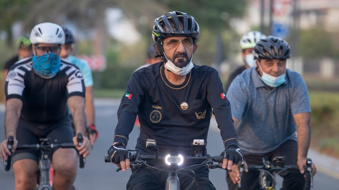 Sheikh Mohammed bin Rashid Al Maktoum, Vice President, Prime Minister and Ruler of Dubai, enjoying a bicycle ride in Dubai along with his associates on Thursday.