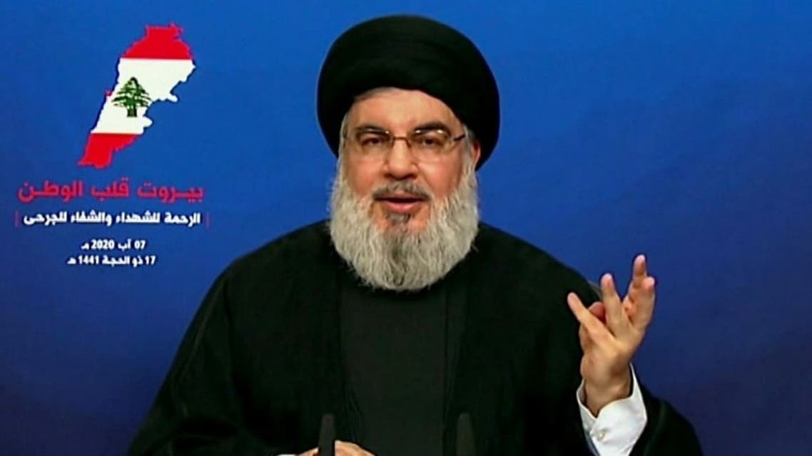 An image grab taken from al-Manar TV on August 7, 2020, shows the head of Lebanon's Shia group Hezbollah Hassan Nasrallah during a televised speech to comment on the massive explosion that rocked Beirut.  (AFP)