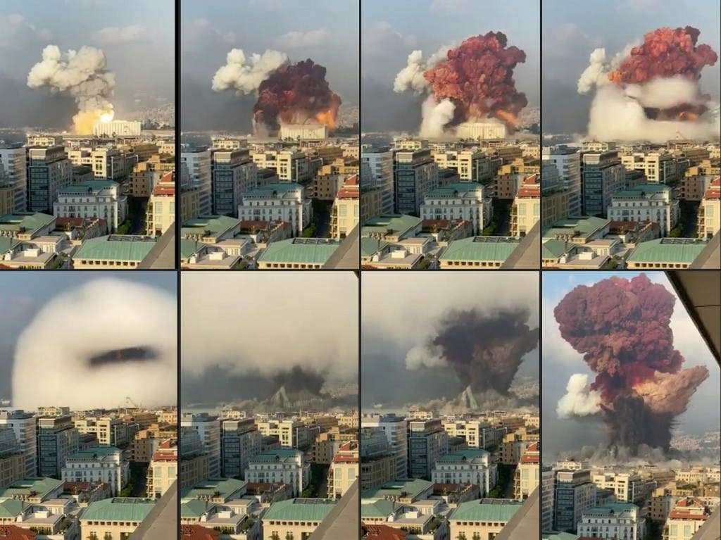 This combination of pictures created on August 05, 2020 UGC footage filmed from an office building at the moment a massive explosion rocked Beirut the previous day shows a fireball exploding while smoke is billowing at the port of the Lebanese capital on August 4, 2020. (AFP)