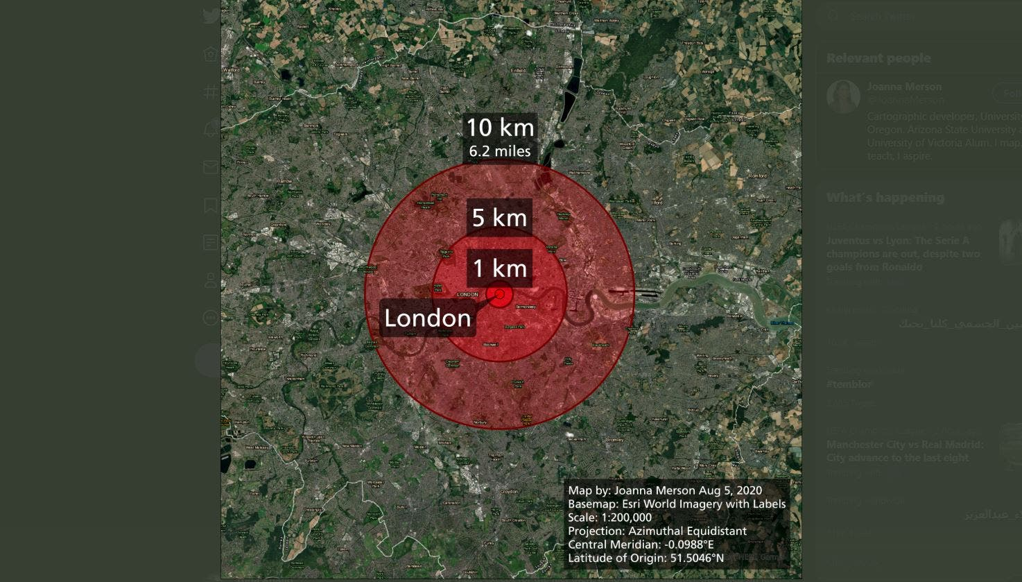 Map showing the damage radius if Beirut's explosion happened in London. (Twitter/ JoannaMerson)