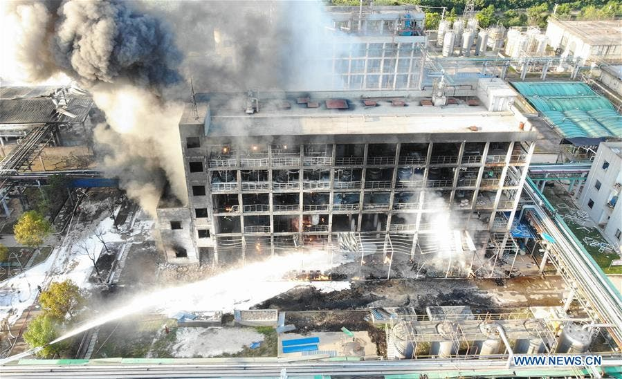 Aerial photo taken on Aug. 3, 2020 shows firefighters putting out a fire at the explosion site of an organic silicon company in Xiantao City, central China's Hubei Province. (Xinhuanet.com)