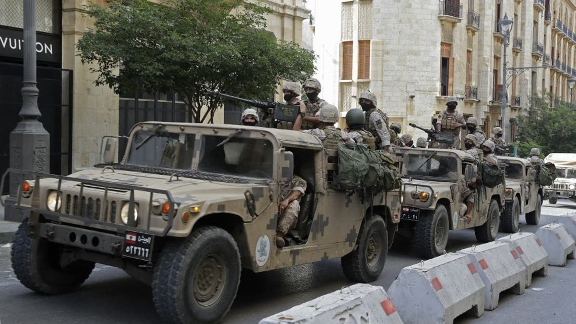 Lebanese army soldiers arrive to downtown Beirut on August 8, 2020, during a demonstration against a political leadership they blame for the deadly Beirut explosion. (AFP)
