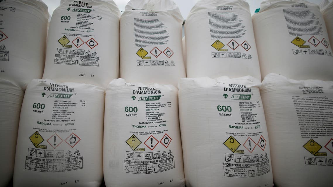 Bags containing ammonium nitrate fertilizer are dispalyed in an agricultural trader in Vieillevigne, France, October 7, 2016. (File photo: Reuters)