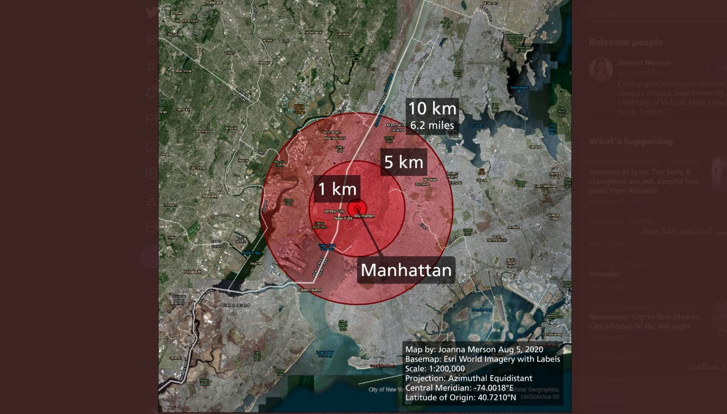 Map showing the damage radius if Beirut's explosion happened in New York. (Twitter/ JoannaMerson)