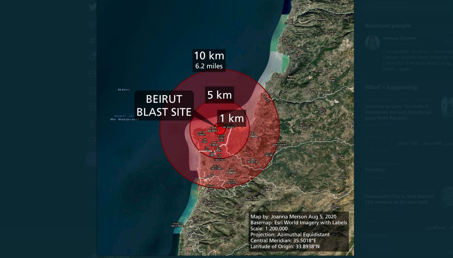 Map showing the damage radius of the explosion in Beirut. (Twitter/ JoannaMerson)