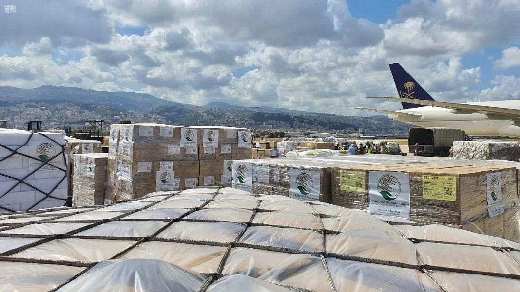 KSrelief aid plane arrives in Lebanon. (SPA)