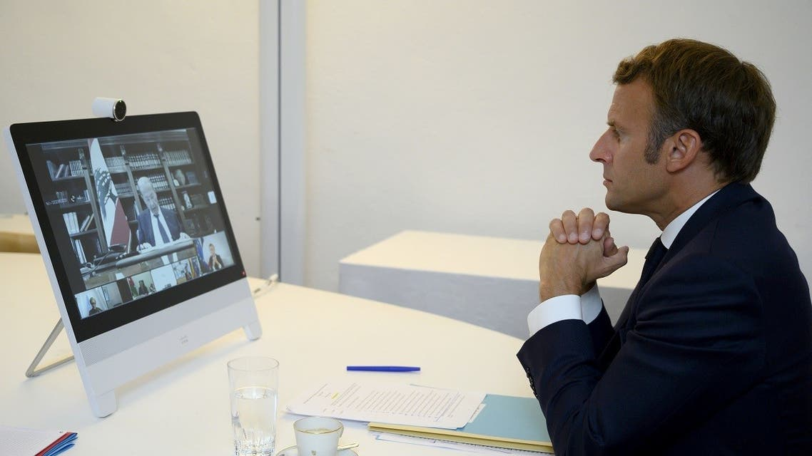 French President Emmanuel Macron attends a donor teleconference with other world leaders, in Bormes-les-Mimosas. (Reuters)