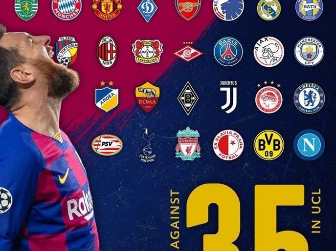 رکورد جدید لیونل مسی: گشودن دروازه 35 تیم مختلف در لیگ قهرمانان اروپا