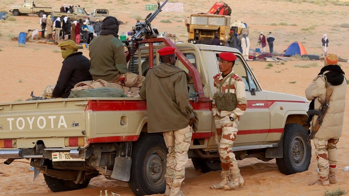 Niger's armed forces patrol at the Cheriyet touristic site, in the northern Niger region of Agadez, on February 12, 2020. (AFP)