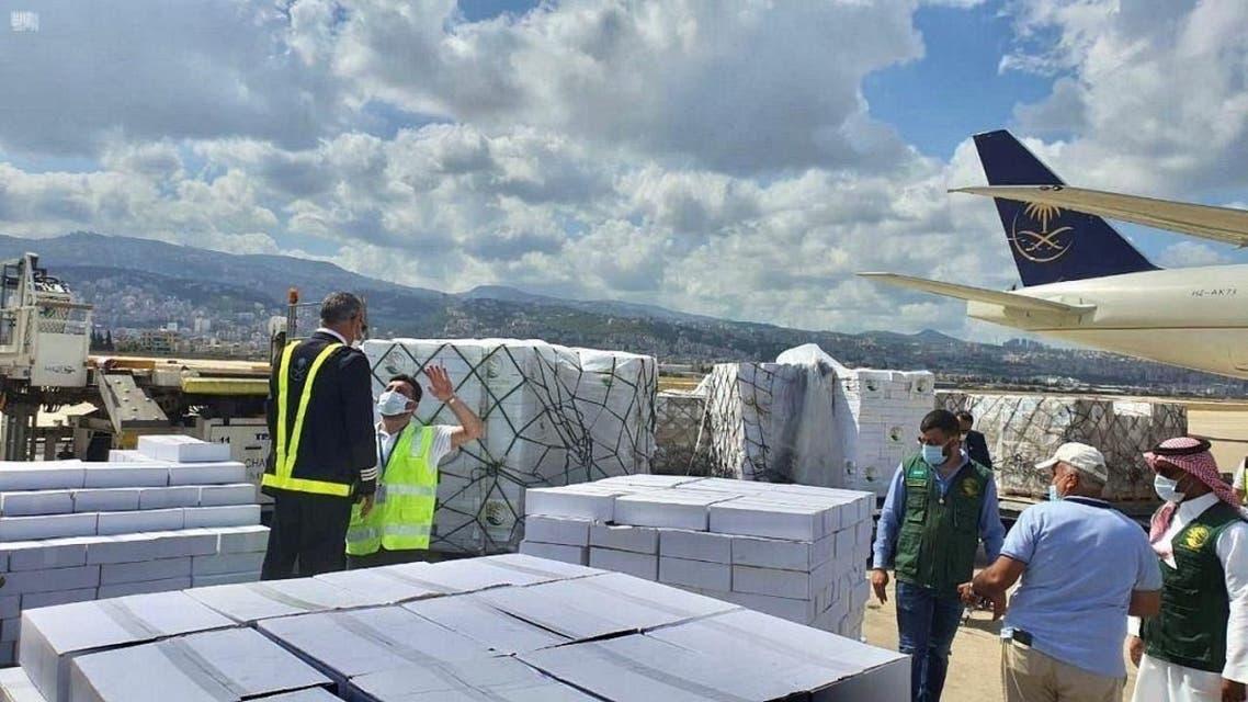 KSrelief aid plane arrives in Lebanon. (SPA)
