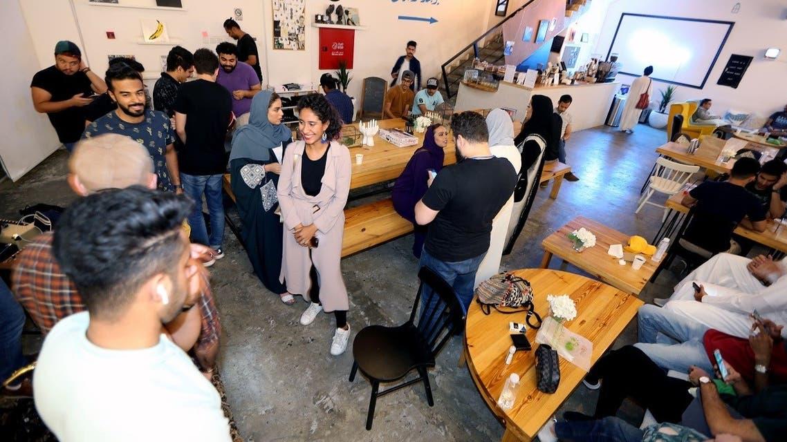 Saudi youth gather at a local musical themed cafe Lojain Alkhursani in Khobar, Saudi Arabia, July 2, 2019. (File photo: Reuters)