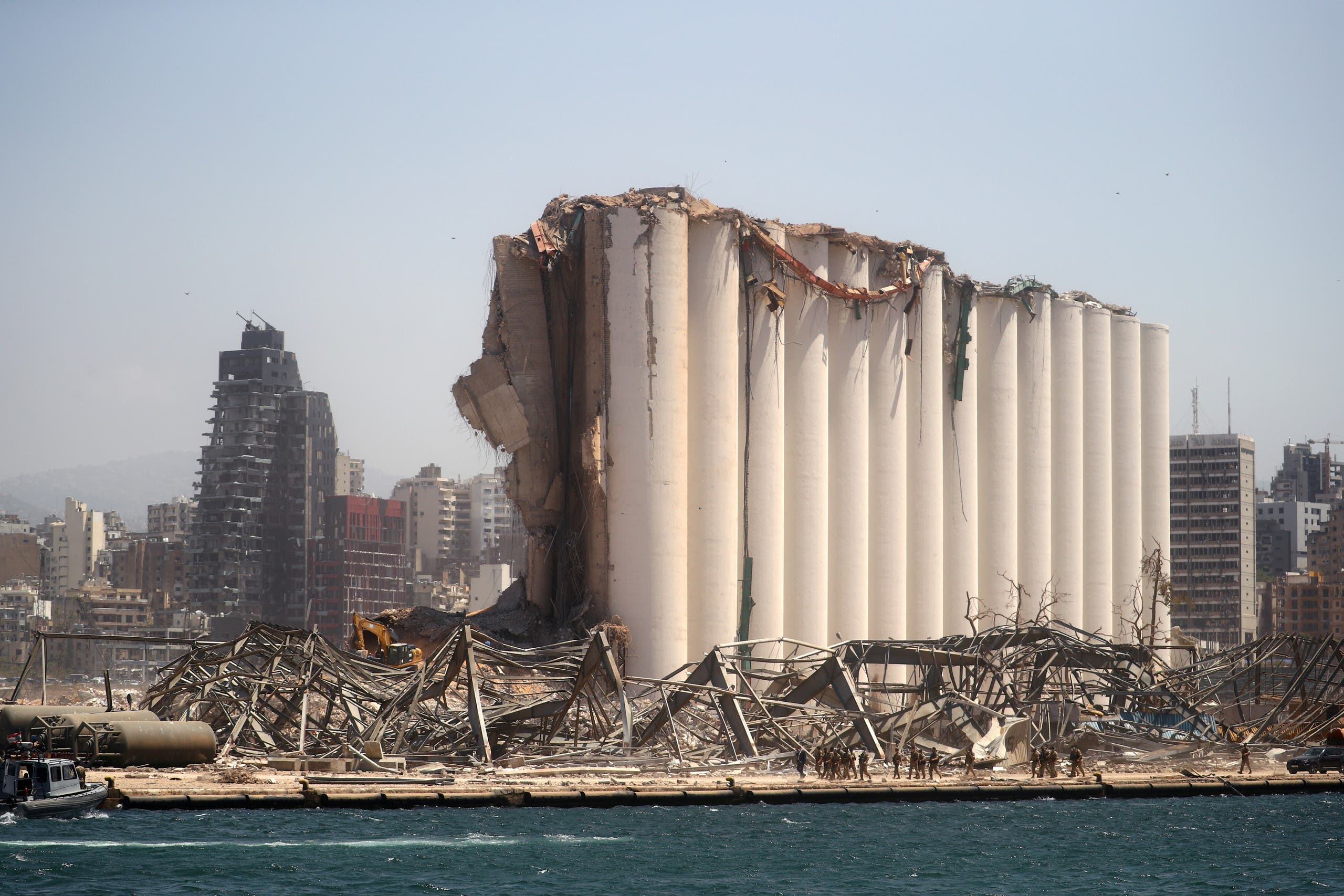 A general view shows the damaged grain silo following Tuesday's blast in Beirut's port area, Lebanon August 8, 2020. (Reuters)