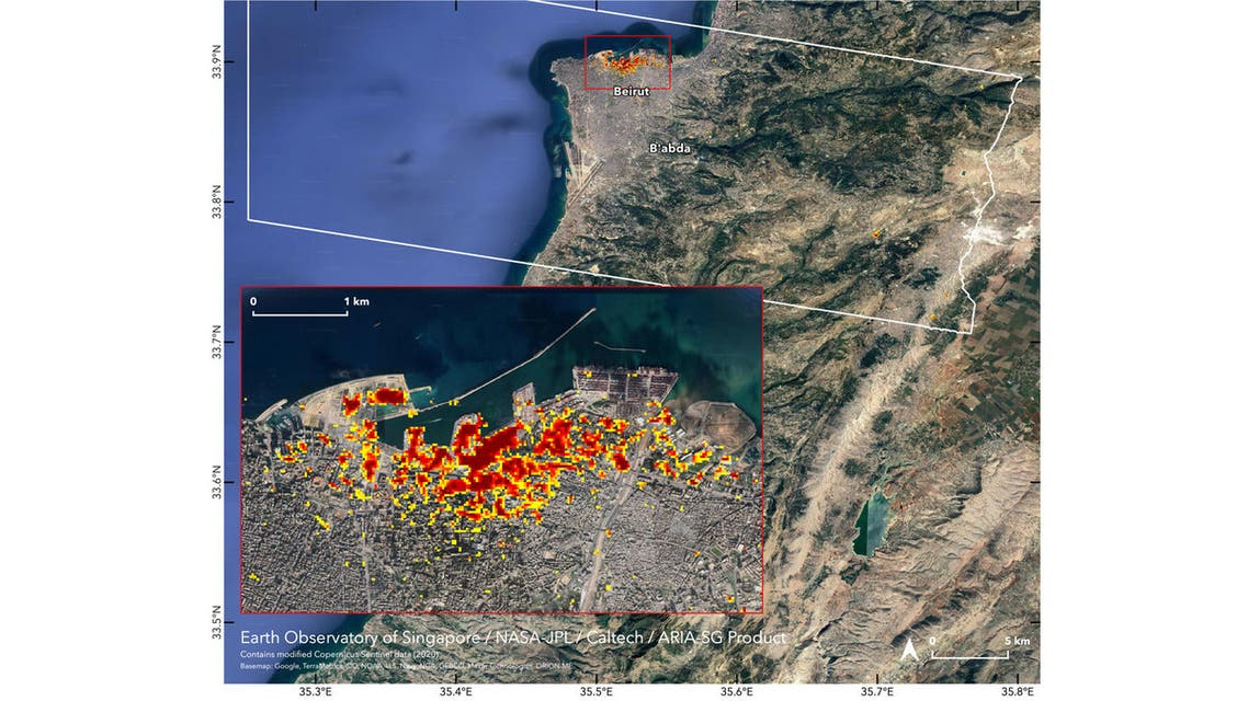 satellite data to map the extent of likely damage following a massive explosion in Beirut.