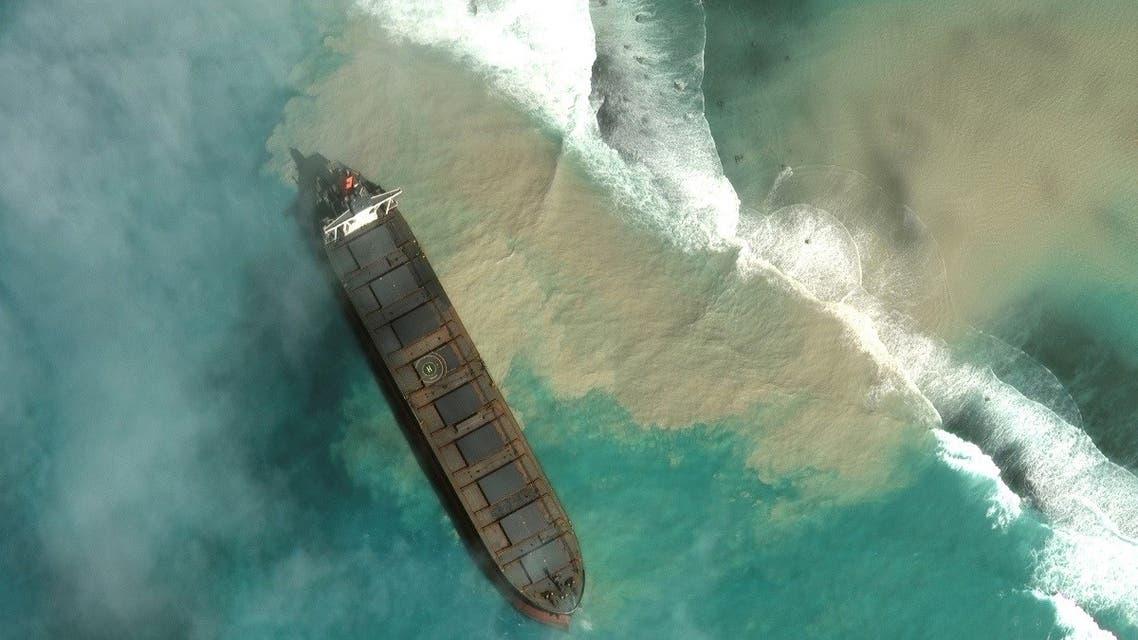A satellite image shows MV Wakashio, a bulk carrier ship that ran aground off the southeast coast of Mauritius, on August 1, 2020. (Maxar Technologies via Reuters)