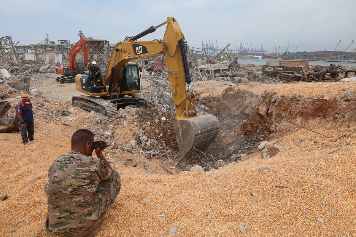 الجيش اللبناني في مرفأ بيروت بعد الانفجار