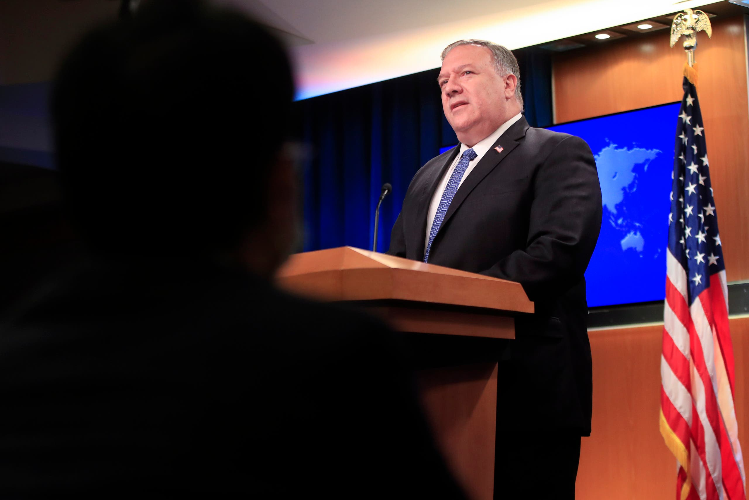 US Secretary of State Mike Pompeo speaks during a news conference at the State Department in Washington, DC, on August 5, 2020. Pompeo said Wednesday the US would offer a $10 million reward to arrest any state actor who interferes in the November elections.