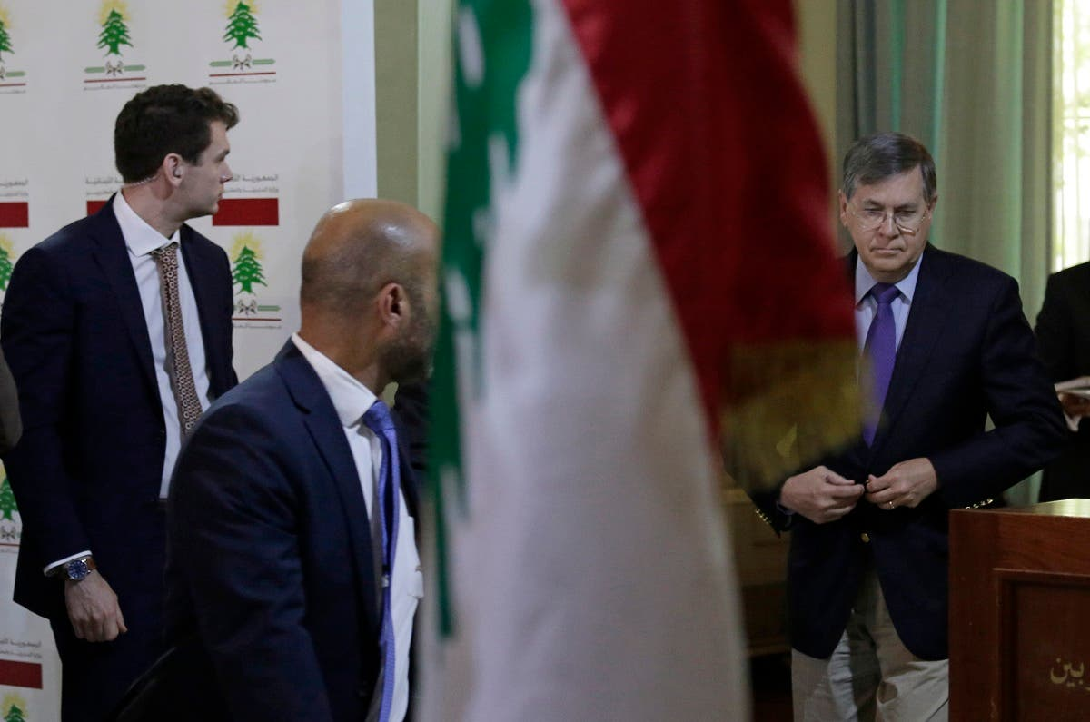 Then-US Deputy Assistant Secretary of State David Satterfield, right, trying to mediate the border dispute between Lebanon and Israel, arrives to a meeting at the Lebanese foreign ministry, May 28, 2019. (File Photo: AP)
