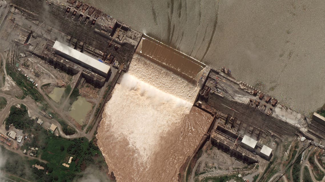 A handout satellite image shows a view of the Grand Ethiopian Renaissance Dam (GERD) in Ethiopia, July 28, 2020. Satellite image ©2020 Maxar Technologies via REUTERS ATTENTION EDITORS - THIS IMAGE HAS BEEN SUPPLIED BY A THIRD PARTY. MANDATORY CREDIT. NO RESALES. NO ARCHIVES. MUST NOT OBSCURE WATERMARK