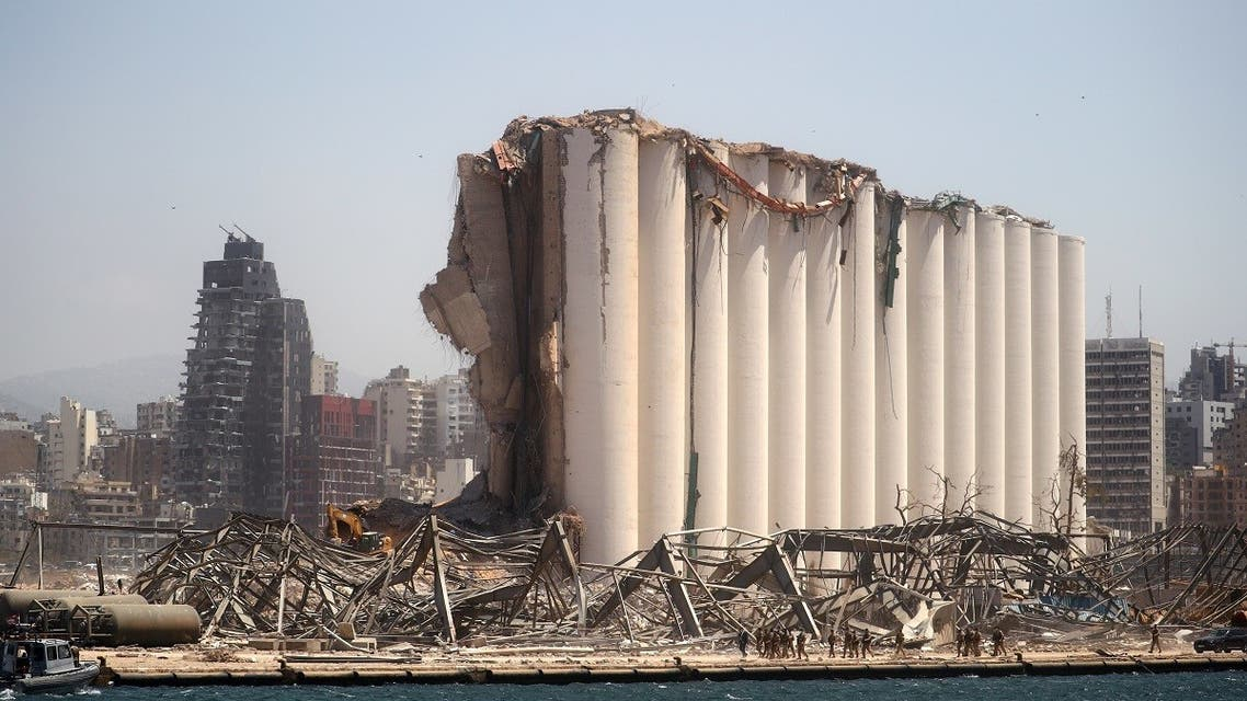 A general view shows the damaged grain silo following Tuesday's blast in Beirut's port area, Lebanon. (Reuters)