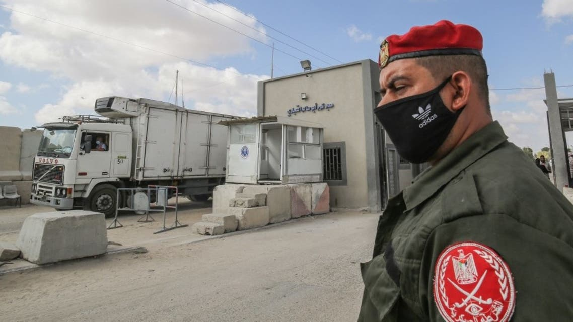 A member of Palestinian Hamas security forces stands outside the Kerem Shalom crossing in the southern Gaza Strip city of Rafah, on August 11, 2020. (File photo: AFP)