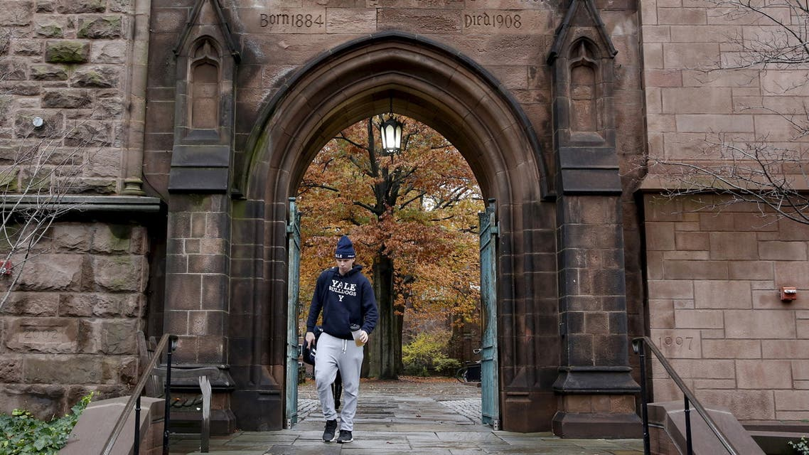 A student walks on the campus of Yale University in New Haven, Connecticut on November 12, 2015. (Reuters)