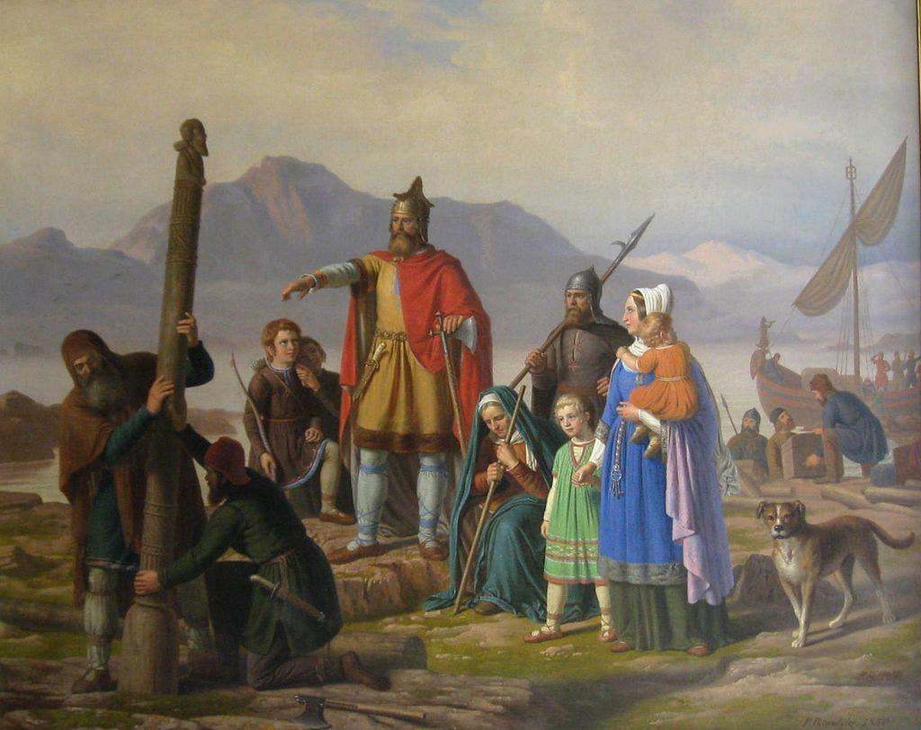 لوحة يظهر بها أحد الكلاب مع الفايكنغ بآيسلندا