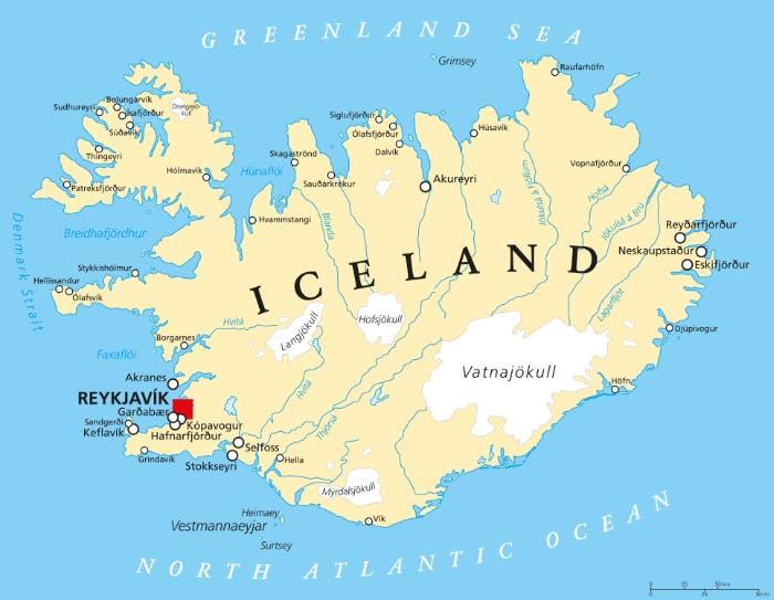 خريطة معاصرة لآيسلندا