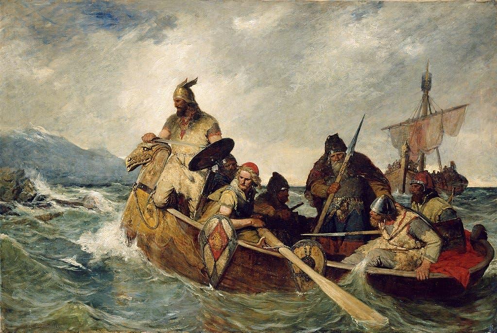لوحة تجسد قدوم الفايكنغ بآيسلندا